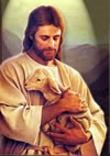 A beautiful painting of Jesus Christ good shepherd compassionately and lovingly holding a tiny lamb, an antique painting by an unknown artist that is striking and moving to highlight a section of the blog about miraculous healings through Jesus Christ,. Click clipart to for a larger image of Jesus Christ in this  lovely vintage painting.