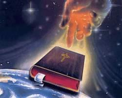 click for a larger file of this picture of a Christian Bible and a powerful prophets hand representing a Christian prophet telling about a prophecy of the coming of the antichrist during the end days of the earth before the second coming of Jesus Christ.